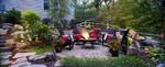 waterfall feature-fire feature-paver-natural stone-stone steps-landscape lighting