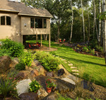 mixed martial stone steps-native plantings-stone steppers-woods