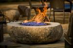 Gas fire bowl-purple glass-flame