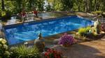 pool overlooking lake-native plantings-multi level deck-deep pool