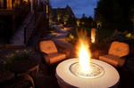 Fire Bowl-Landscape lighting-long paver path-comfy outdoor furniture