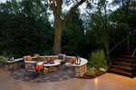fire pit-hardscape-pavers-plantings-woods-fire-outdoor furniture