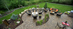 paver patio-lawn edging-fire pit-high end outdoor furniture
