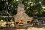 boulder wall-large outdoor fireplace