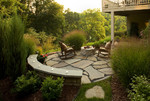 townhouse patio-lush setting-fire feature