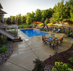 large patio and pool