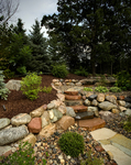 boulder wall-stone steps