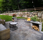 Small backyard paver patio with built in wood boxes
