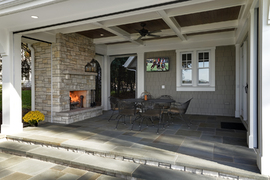 Luxury 3 season porch/fireplace