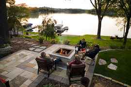 Fire feature patio overlooking lake