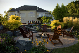 cozy/fire pit/plantings/granite steps