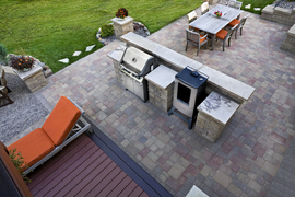 smoker/outdoor kitchen/lawn steppers /wood deck