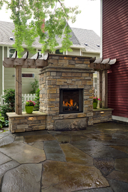 huge outdoor fireplace