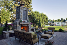 Massive outdoor fireplace
